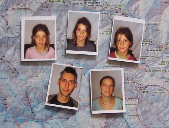 On arriving at Kathmandu, after a  28 hour journey from the UK, we realised we had put all the passport photos we needed for visas in our luggage. Luckily there was a booth where we could get these ones taken. We looked a lot fresher when we set off.