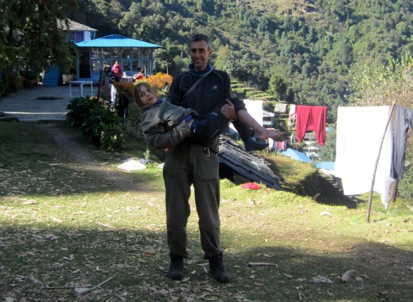 Carrying Scarlett to the Helicopter Landing Field