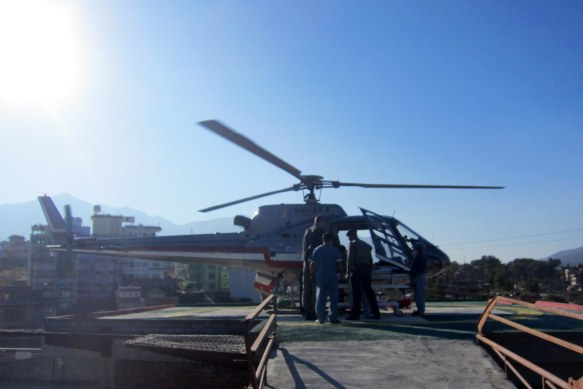 Unloading Scarlett from the Helicopter