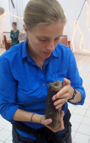 Janet Holding a T-Rex Bone