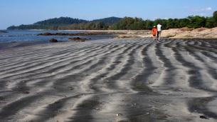 Black and white sand