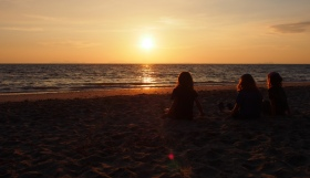 Girls Watching the Sunset on Koh Jum