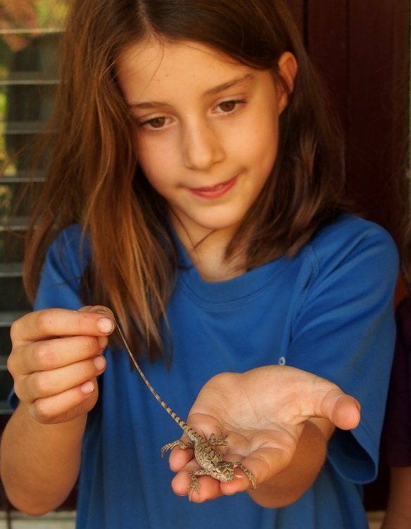 Jemima with a captured lizard
