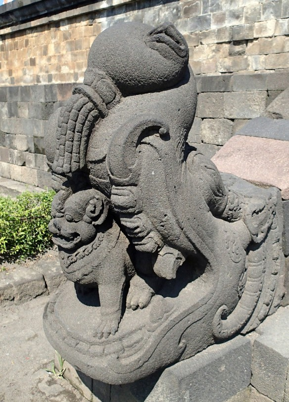 Outside the temple of Borobudur