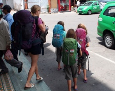 Arriving in Da Nang, backpacks in tow