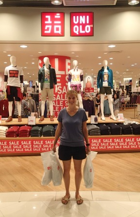 Janet's haul after 3 and a half hours in Uniqlo