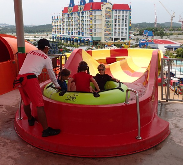 All aboard a Legoland slide