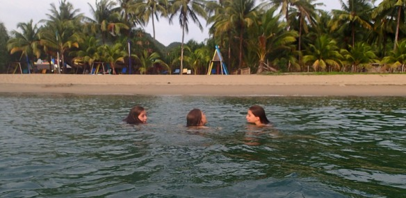Swimming at Sugar Beach outside Taka Tuka