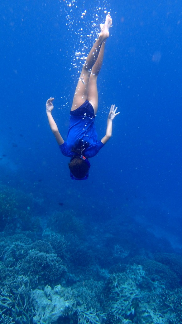 Jemima free diving near Komodo island