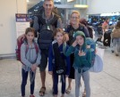 Heathrow arrivals, met by Nana Avril and looking a litte worse for wear